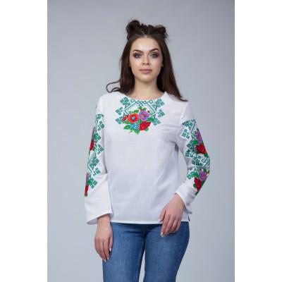 Жіноча вишита блуза з квітковим орнаментом