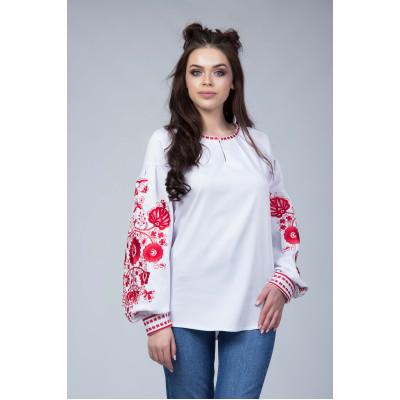 69362dab179 ... Белая женская вышитая блуза с красной вышивкой
