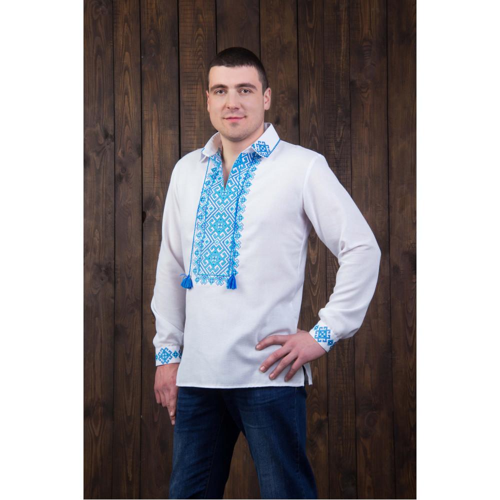 Чоловіча вишита сорочка з блакитною вишивкою - від виробника Magtex 6ddf7bffcfc1c