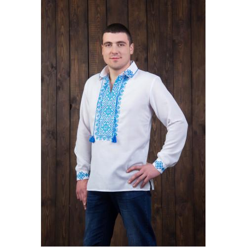 Чоловіча вишита сорочка з блакитною вишивкою