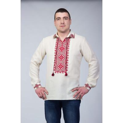 Мужская вышиванка с красным орнаментом