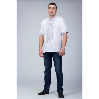 Чоловіча вишита сорочка з сіркою вишивкою