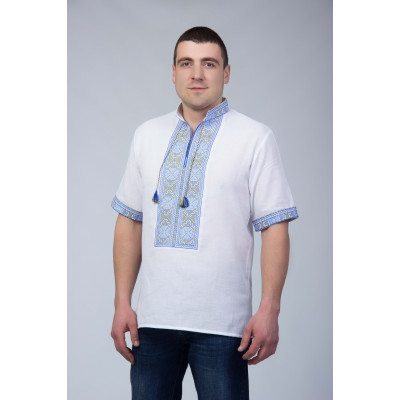 Чоловіча вишита сорочка з жовто синьою вишивкою