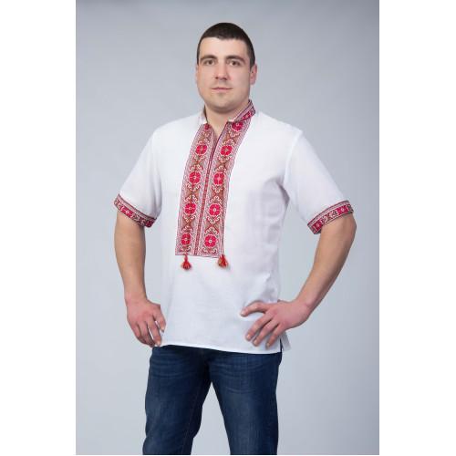 Чоловіча сорочка з червоним візерунком