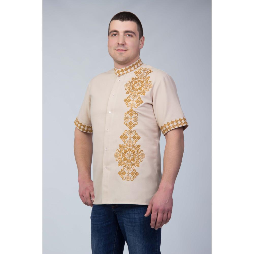 Чоловіча вишита сорочка із золотою вишивкою - від виробника Magtex cebc1fc2c36aa