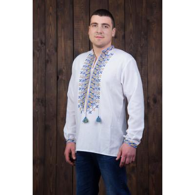 Чоловіча сорочка з синьо жовтою вишивкою