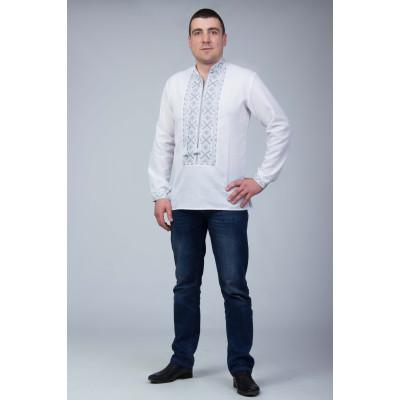 Чоловіча вишита сорочка з темно сірою вишивкою