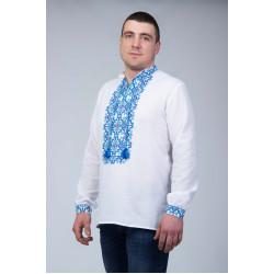 Чоловіча вишита сорочка з синім візерунком
