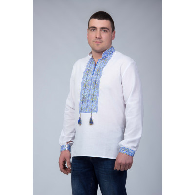 Чоловіча вишита сорочка з світло синьої вишивкою