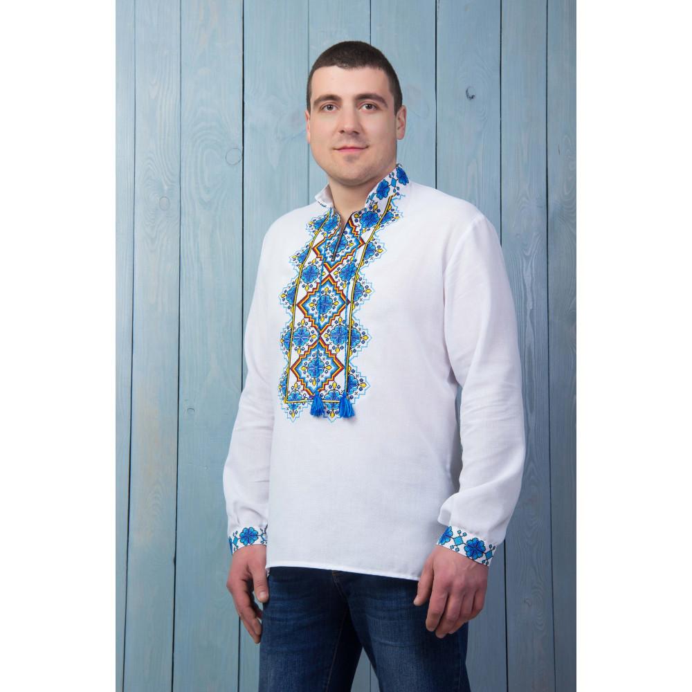 Чоловіча вишита сорочка з синьою вишивкою - від виробника Magtex 940a72a98b6e3