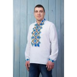 Чоловіча вишита сорочка з синьою вишивкою