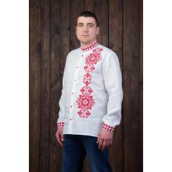 Біла вишиванка з червоною вишивкою