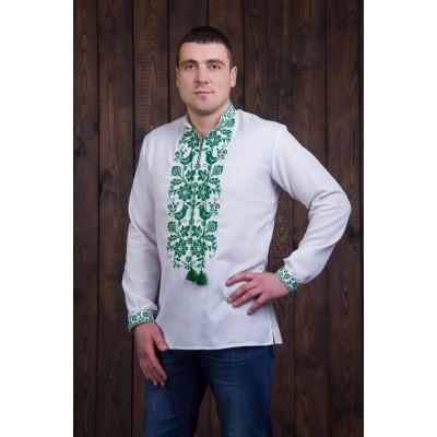 Чоловіча сорочка із зеленою вишивкою