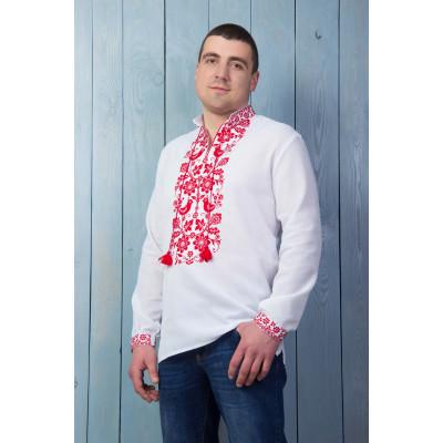 Чоловіча вишита сорочка з червоною вишивкою