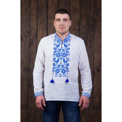 Мужская сорочка с синим орнаментом