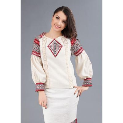 Жіноча вишита блуза з довгим рукавом-ліхтариком