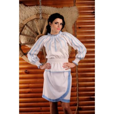 Жіноча вишита блуза з поясом-гумкою