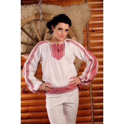 Жіноча вишита блуза з червоною вишивкою
