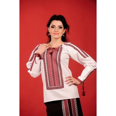 Стильная женская вышиванка с красно черной вышивкой
