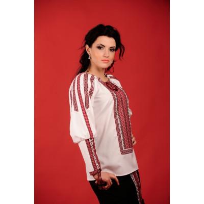 Стильна жіноча вишиванка з червоно чорною вишивкою