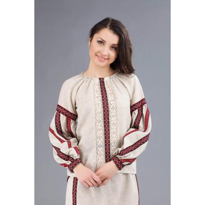 Жіноча вишита блуза з льону