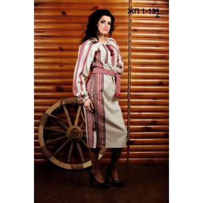 Жіноче лляне плаття з червоною вишивкою