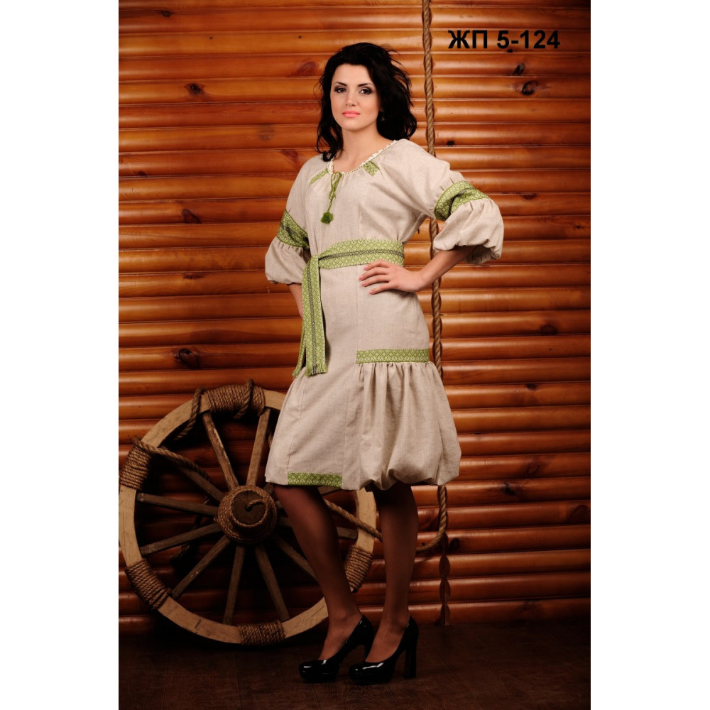 Вишита жіноча сукня з салатовою вишивкою - від виробника Magtex edc794fd2642b