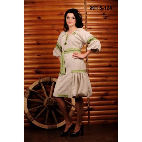 Вишита жіноча сукня з салатовою вишивкою