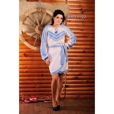 Стильний вишитий костюм зі спідницею і синьою вишивкою