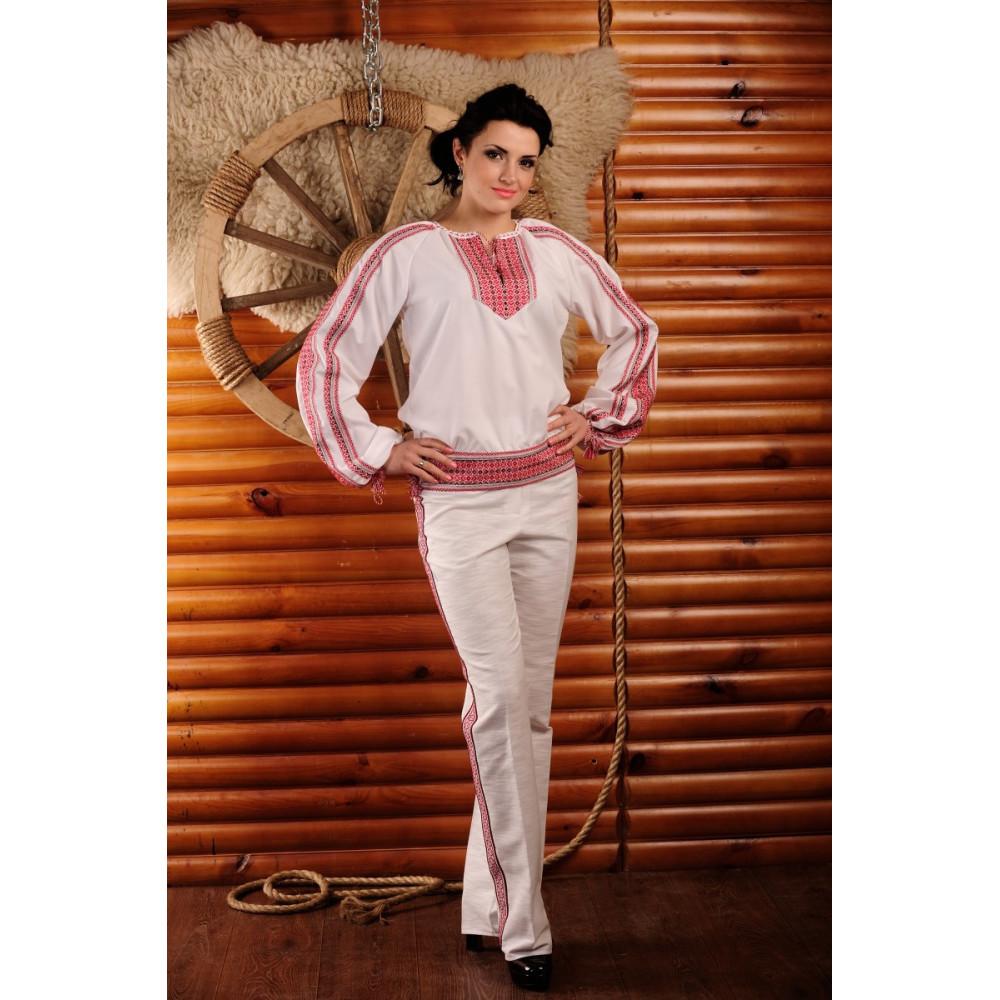 Жіночий брючний костюм з вишивкою - від виробника Magtex cfa61655dc538
