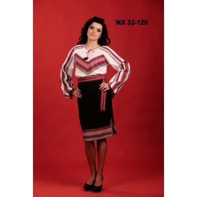 Вишитий жіночий костюм з чорно червоним візерунком