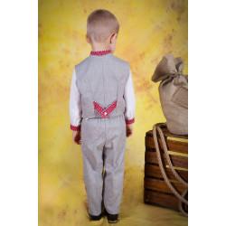 Дитячий вишитий костюм з червоною вишивкою