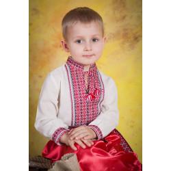 Сорочка вишита для хлопчика з червоною вишивкою