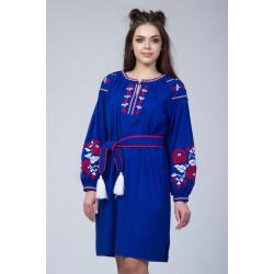 Синє плаття з флористичним орнаментом
