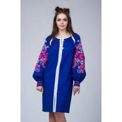 Синє лляне вишитий плаття з червоно білою вишивкою