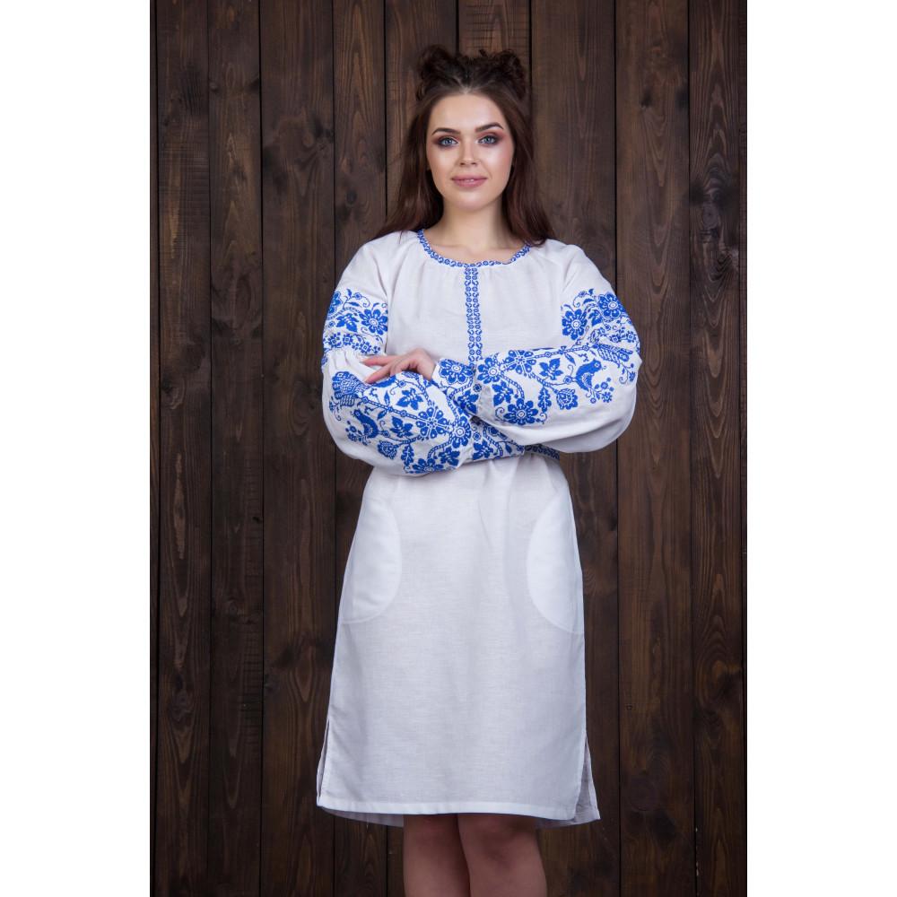 873f78e900d Белое платье с синей вышивкой - от производителя Magtex