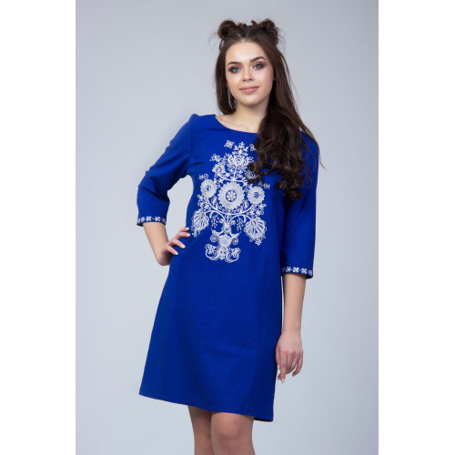 Синє лляне вишитий плаття з вишивкою