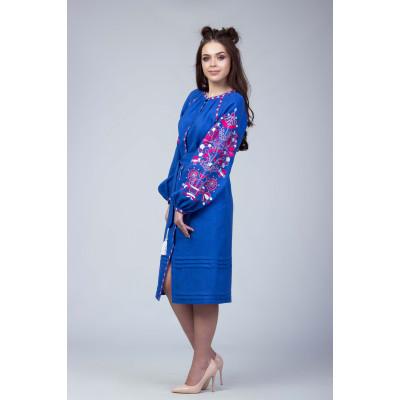 336a83f7729 Синее платье с красно белой вышивкой Синее платье с красно белой вышивкой